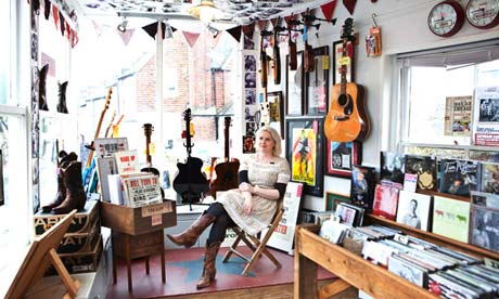 Stevie Freeman photographed inside her shop, Union Music, in Lewes