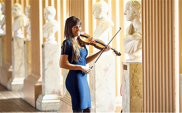 Scottish-born violinist Nicola Benedetti in the Playfair Library, University of Edinburgh