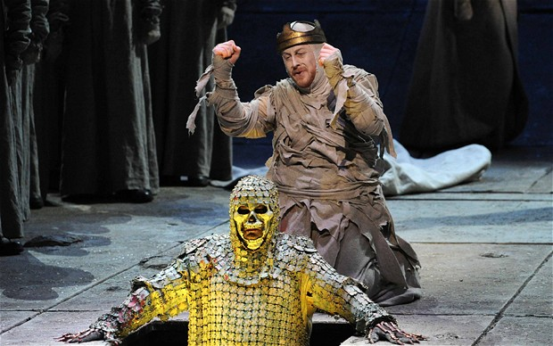 Wagner's Parsifal performed by English National Opera. Iain Paterson is Amfortas (in the grey) and Andrew Greenan Titurel