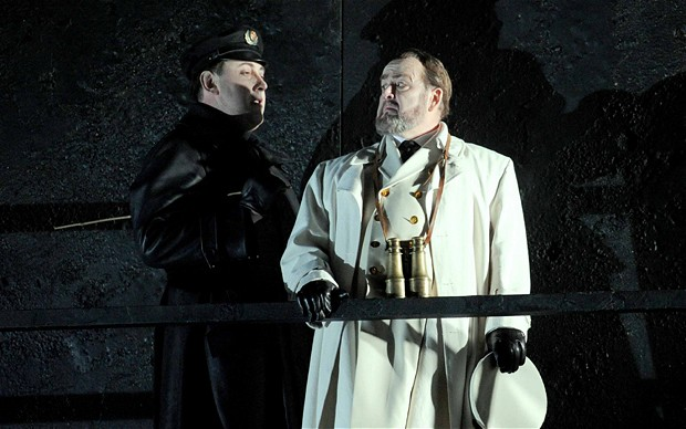 Billy Budd performed by English National Opera. Matthew Rose as Claggart  (left) Kim Begely as Captain Vere.